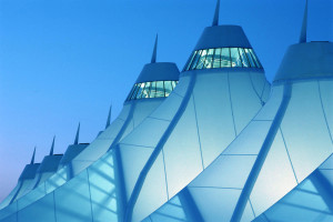 White tent roof of Denver International Airport