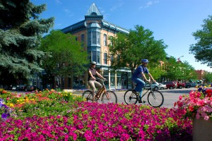 Downtown Fort Collins hosting bike rides and flower gardens