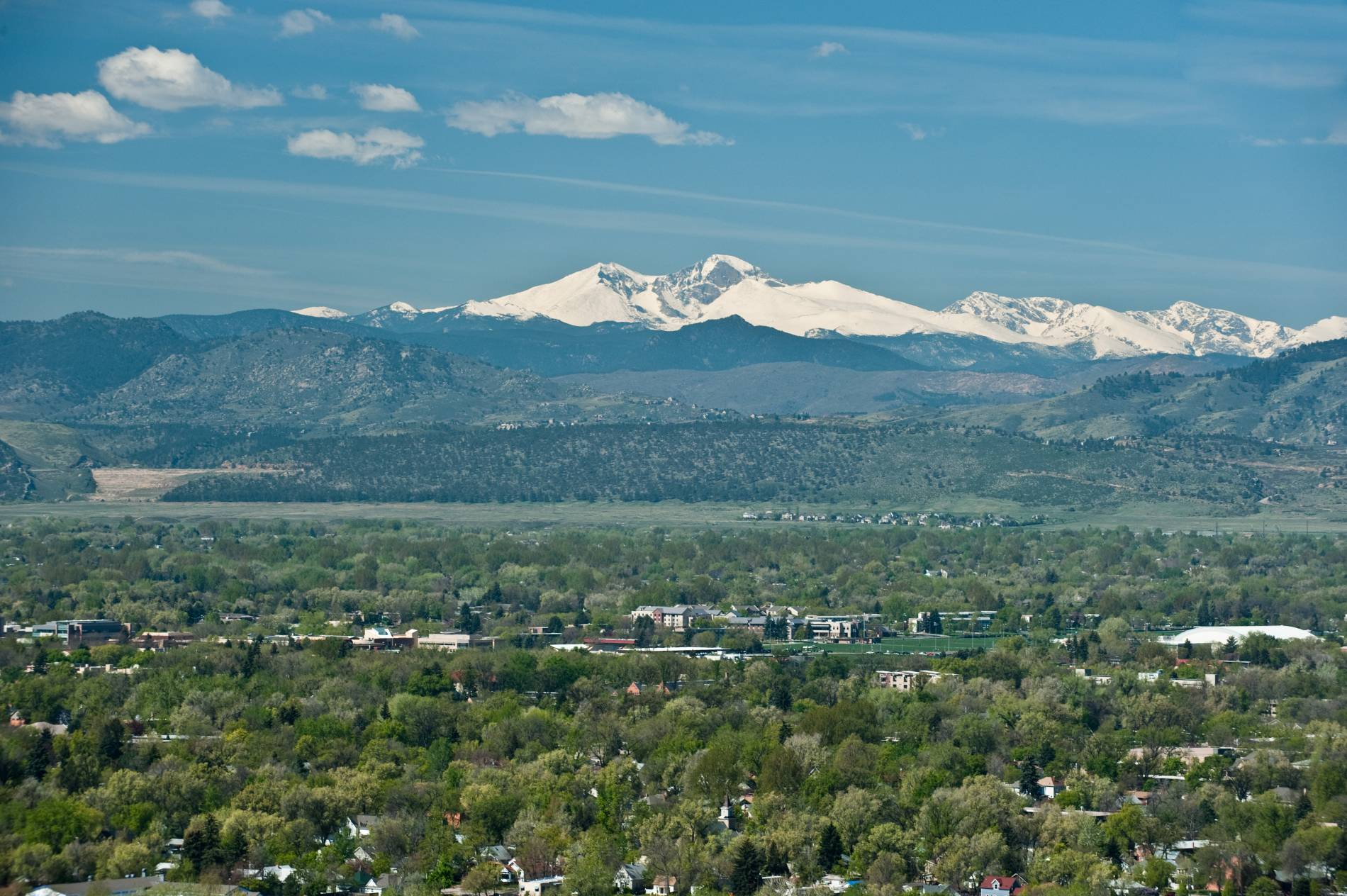 View from Campus with CSU and Fort Collins Foothills